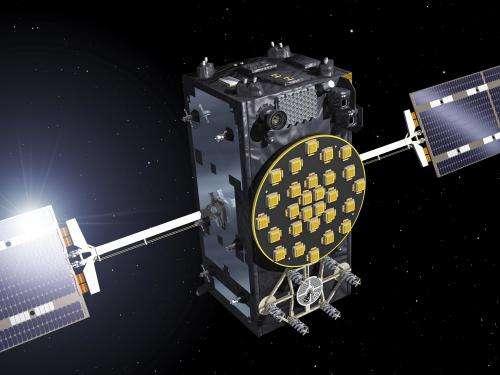Four Galileo satellites at ESA test centre