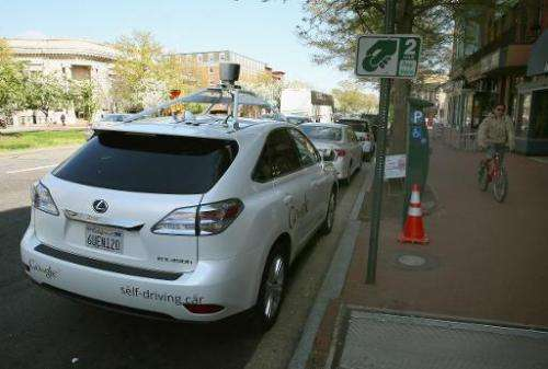 Google's Lexus RX 450H Self Driving Car, seen parked on Pennsylvania Ave. in Washington, DC, on April 23, 2014