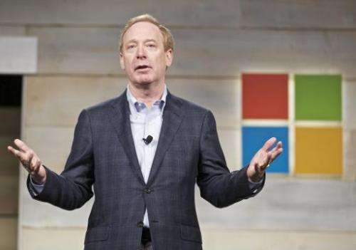 Microsoft General Counsel and Executive Vice President Brad Smith addresses shareholders during a Microsoft shareholders meeting