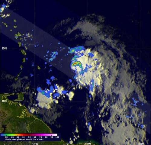 NASA finds heavy rainfall and wind shear in newborn Tropical Storm Bertha