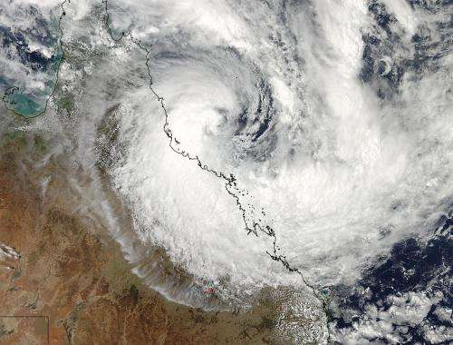NASA gets 2 views of Tropical Cyclone Dylan making landfall in Australia