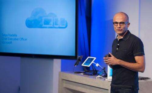 Satya Nadella, CEO of Microsoft, speaks at a media event in San Francisco, California on March 27, 2014