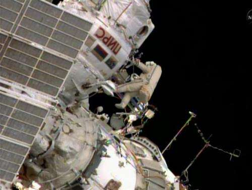 Spacewalkers complete tiring antenna installation
