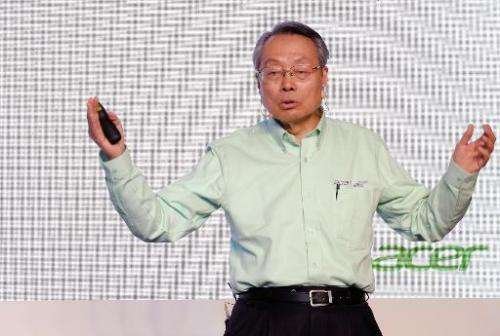 Stan Shih, founder of Taiwan's Acer, speaks during the launch of their latest technology Build Your Own Cloud in northern Taoyua