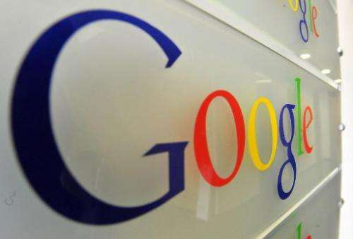 The Google logo pictured on a wall at the entrance of the internet giant's offices in Brussels on February 5, 2014