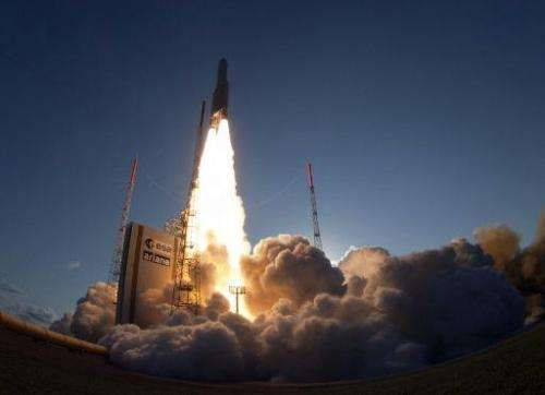 The launch of an Ariane-5 rocket, carrying two telecommunication satellites from Kourou space base in the French Guiana on Augus