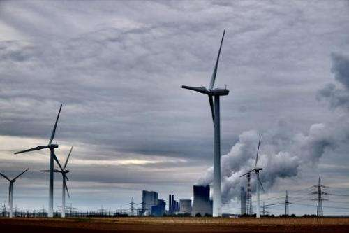 "The power plant ""Neurath"" run by coal from the brown coal open cast mine Garzweiler, October 24, 2014 in Neurath, west"