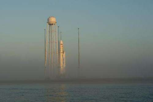 This picture provided by NASA shows the Orbital Sciences Corporation Antares rocket, with the Cygnus spacecraft onboard, at sunr