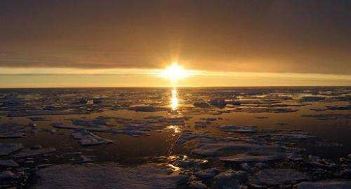 This undated handout photo courtesy of NASA shows a sunset over the Arctic