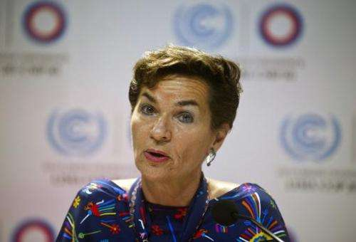 UNFCCC Executive Secretary Christina Figueres speaks during a press conference at the COP20 in Lima on December 1, 2014