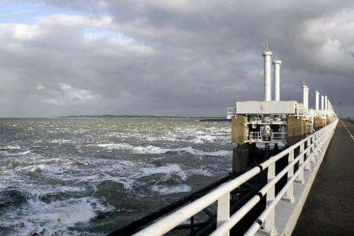 A photo taken on Decmber 6, 2013 shows high water at the Eastern Scheldt storm surge barrier in Oosterschelde