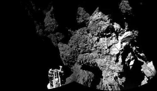 A handout photo released by the European Space Agency (ESA) shows an image taken by Rosetta's lander Philae on November 13, 2014