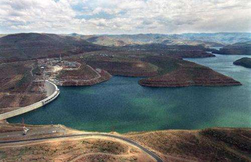 A picture taken November 10, 1997 shows the Katse Dam, which forms part of the Lesotho Highlands Water Project in South Africa