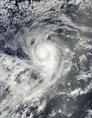 Tropical Storm Karina looks like a giant 'number 9' from space