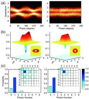 Experimental quantum states for the conversion from wave to particle