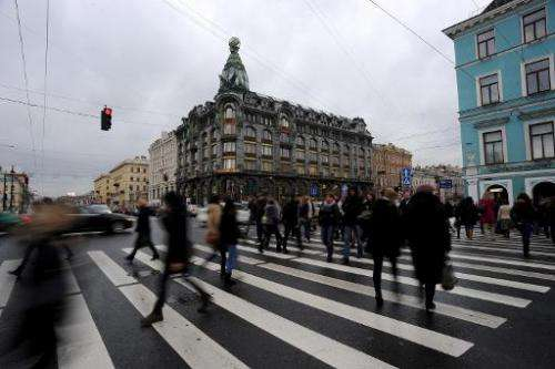 A picture taken in Russia's second city of St. Petersburg on November 1, 2013, shows a view of a building where the social netwo