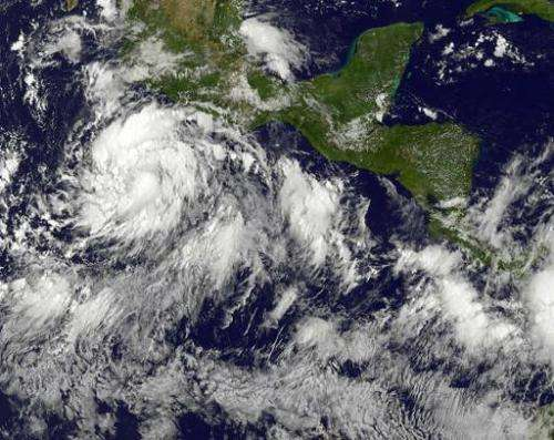 Tropical Storm Marie south of Mexico's Pacific coast on August 22, 2014