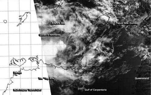 NASA satellite sees Tropical Cyclone Gillian return to remnant low status