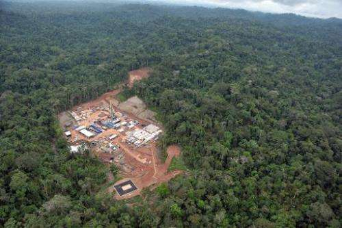 An aerial view of the Amazon jungle near Cuzco, 470 kilometers east of Lima, on May 18, 2011