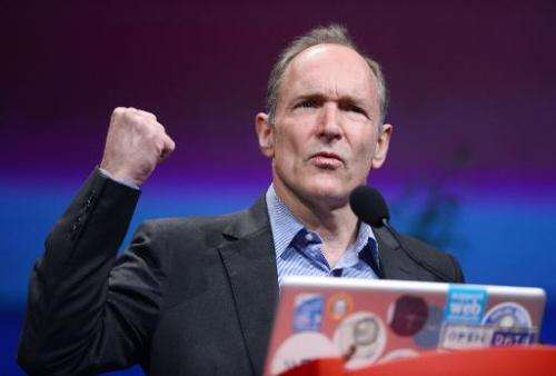 British computer scientist Tim Berners-Lee, the man credited with inventing the World Wide Web, gives a speech on April 18, 2012