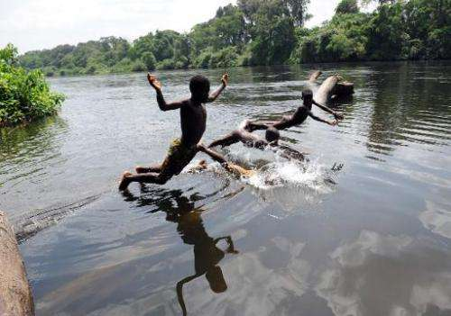 Children play the Bandama river in the Ivorian region of Kossou on March 10, 2009,  at severe risk of Bilharziasis
