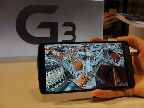LG Electronic's new G3 flagship smartphones are on display at a presser in San Francisco on May 27, 2014