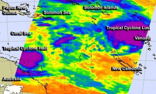 NASA eyes 2 tropical cyclones east of Australia