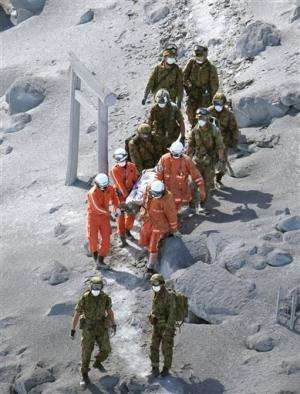 Recovery of bodies suspended at Japanese volcano