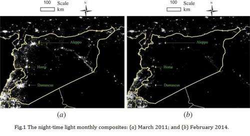 Satellite images shed light, or lack thereof, on the impact of the Syrian conflict