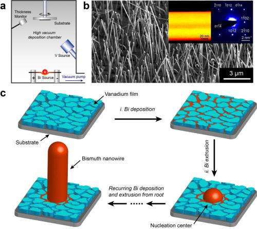 Scalable growth of high quality bismuth nanowires