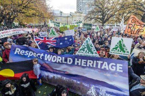 Some 5,000 Tasmanians rally to oppose the delisting of Tasmania's World Heritage forests, in Hobart, on June 14, 2014