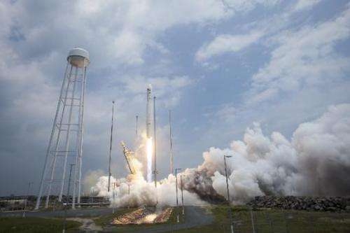 This picture provided by NASA shows the Orbital Sciences Corporation Antares rocket launching with the Cygnus spacecraft onboard