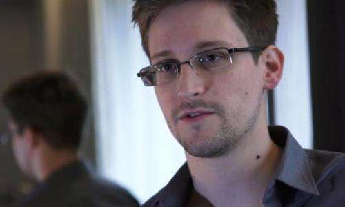 This still image from video recorded on June 6, 2013 shows Edward Snowden speaking during an interview with The Guardian newspap