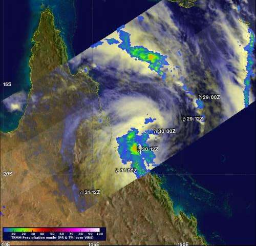 TRMM satellite sees Tropical Storm Dylan make landfall in Queensland