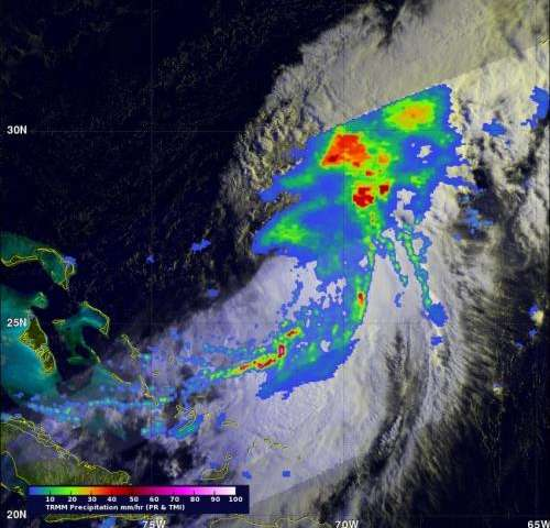 NASA's TRMM Satellite sees powerful towering storms in Cristobal
