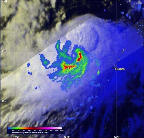 NASA sees Tropical Storm Halong move northwest of Guam