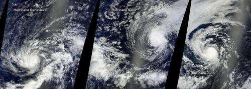NASA satellite paints a triple hurricane Pacific panorama