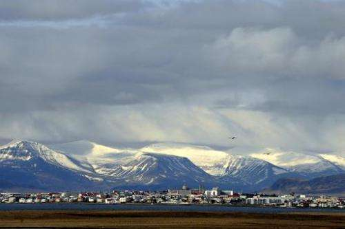 A general view shows the southern end of Reykjavik on April 26, 2009