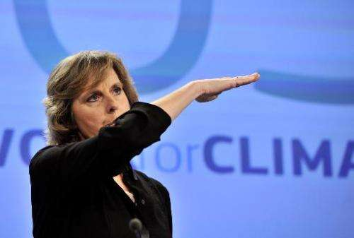 EU commissioner for Climate Action Connie Hedegaard talks during a press conference on the 2030 climate and energy package, in B