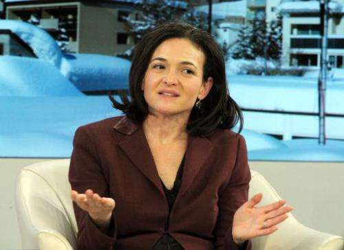 Facebook COO Sheryl Sandberg talks during a session at the World Economic Forum in Davos on January 25, 2014