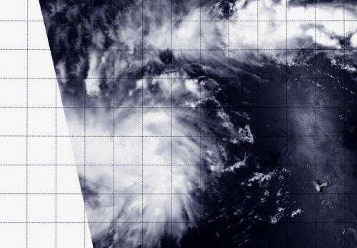 NASA's Aqua satellite flies over newborn Tropical Depression 05W
