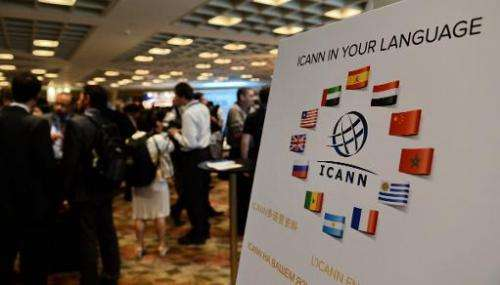 Participants take a break during the Internet Corporation for Assigned Names and Domain (ICANN) meeting in Singapore on March 24