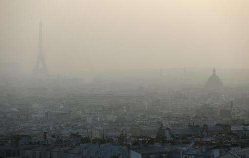 The Eiffel tower and Paris' roof tops are seen through a haze of pollution, March 11, 2014