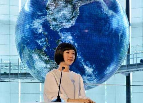 "The world's first news reading humanoid robot ""Kodomoroid"", produced by Osaka University professor Hiroshi Ishiguro, i"