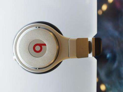Beats headphones are seen on display in Los Angeles, CA on May 9, 2014