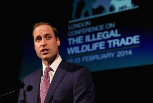 Britain's Prince William gives a speech at a reception for the Illegal Wildlife Trade conference in London on February 12, 2014