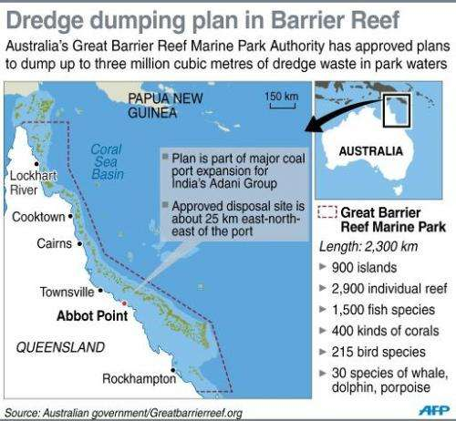 Graphic on the dredge dumping plan in the Great Barrier Reef marine park