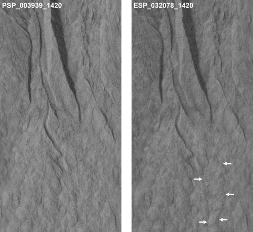 NASA spacecraft observes further evidence of dry ice gullies on Mars