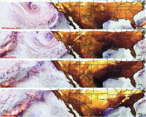 NASA's TRMM satellite images show California soaker moved eastward