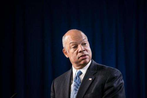 US Secretary of Homeland Security Jeh Johnson speaks during a press conference at the headquarters of the US Immigration and Cus